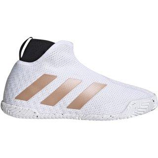 Adidas Women's Stycon Laceless Hard Court Tennis Shoes (Cloud White/Copper Metallic Gold)