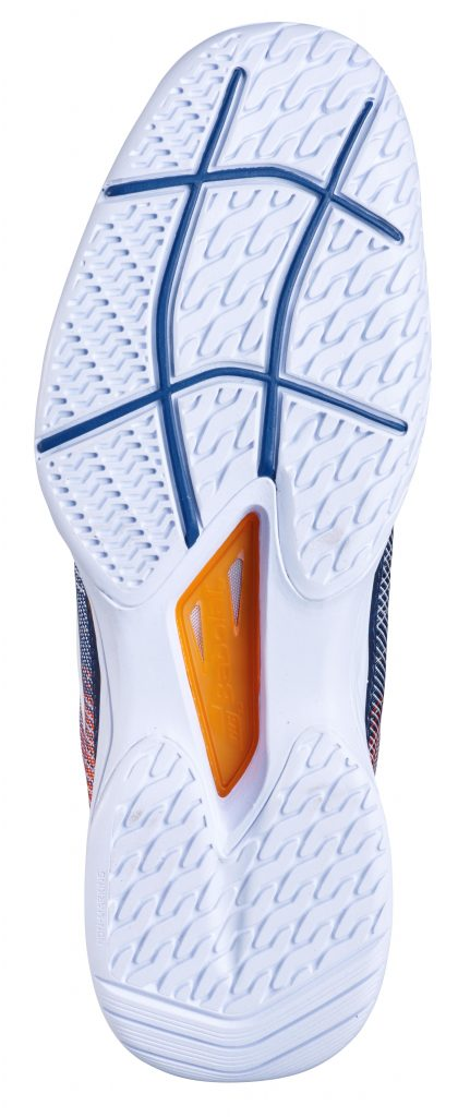 The sole of a Babolat specialist clay court tennis shoe