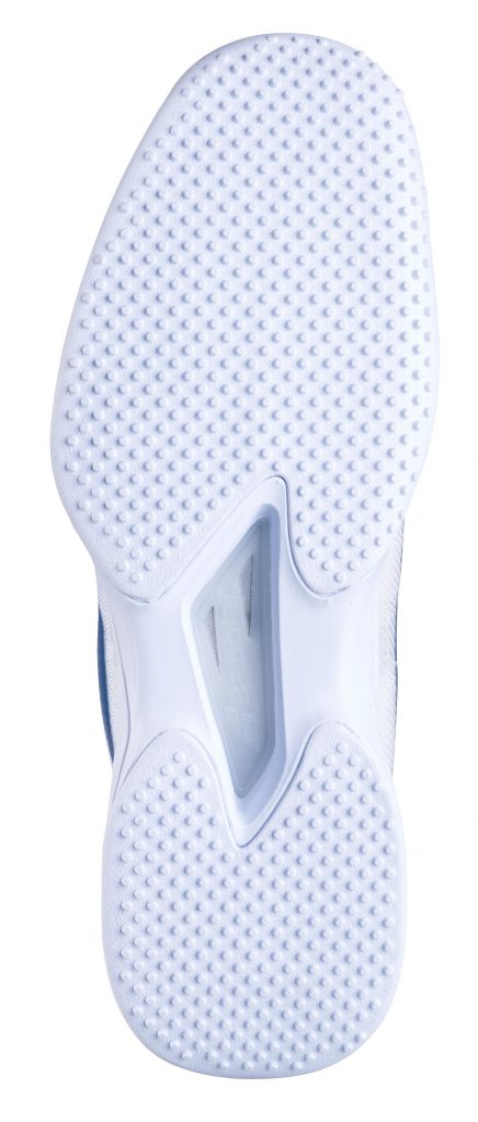 The sole of a Babolat specialist grass court tennis shoe